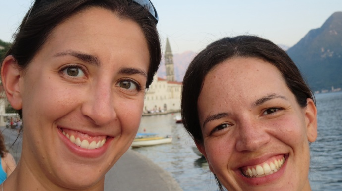 Oddly well-centered selfie of me, Fernanda, and the Perast belltower