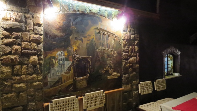 Handpainted murals in the restaurant
