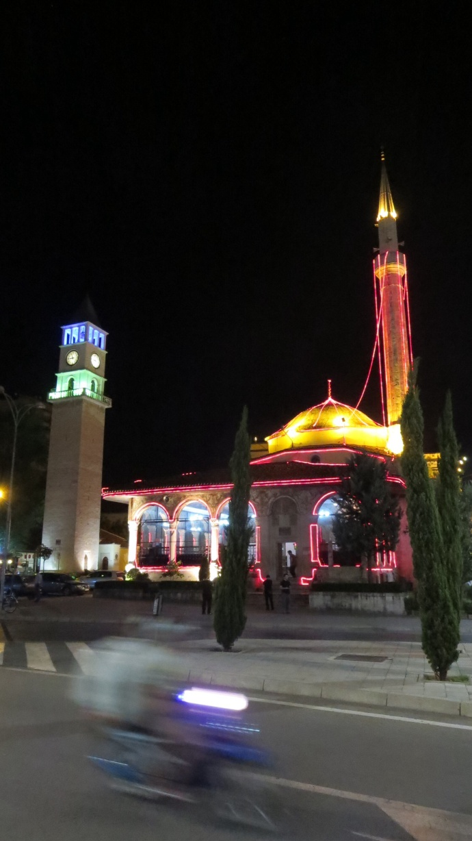Et'hem Bey Mosque and clock tower at night