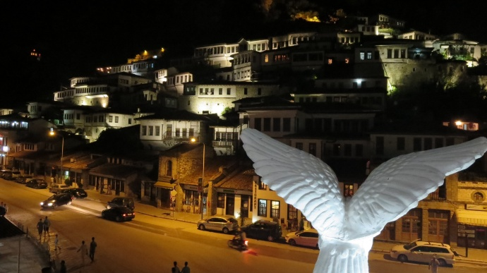 The eagle, symbol of Albania, watching over Berat at night