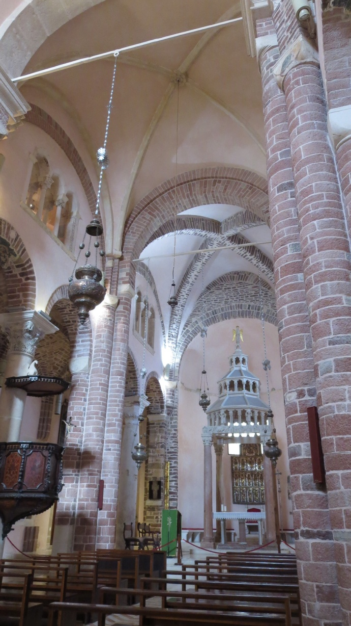 Inside St. Tryphon's Cathedral.  Check out the pink stone.