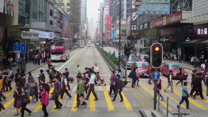 A busy zebra crossing (aka crosswalk)
