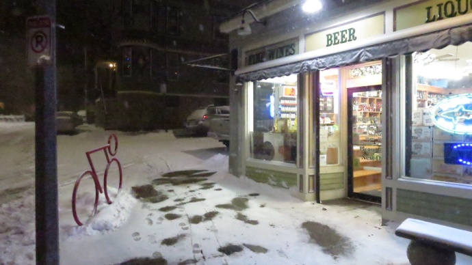 The neighborhood liquor store stayed open until midnight for those last-minute blizzard supplies :)