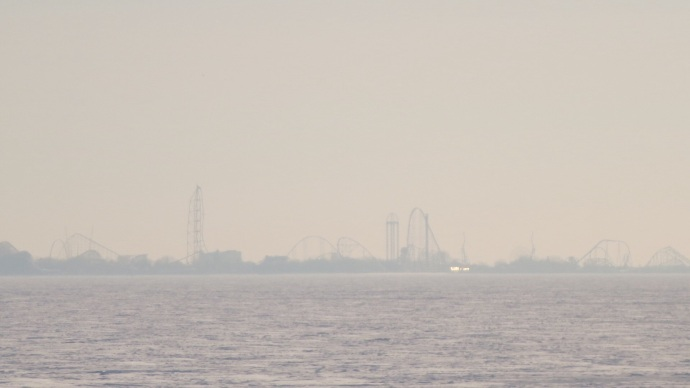 Cedar Point from across the lake.  High five, optical zoom!