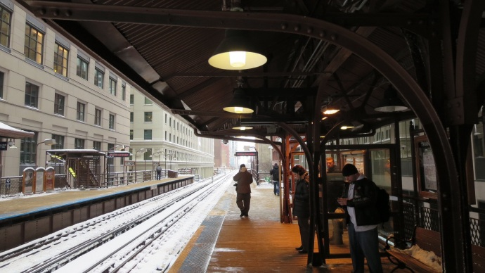 Shivering at one of the elevated stations